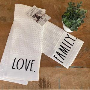 Rae Dunn LOVE FAMILY dish towel set